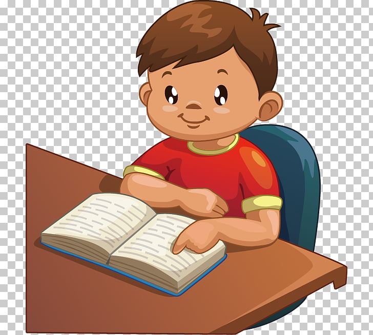 Cartoon Illustration, student, boy reading book illustration.