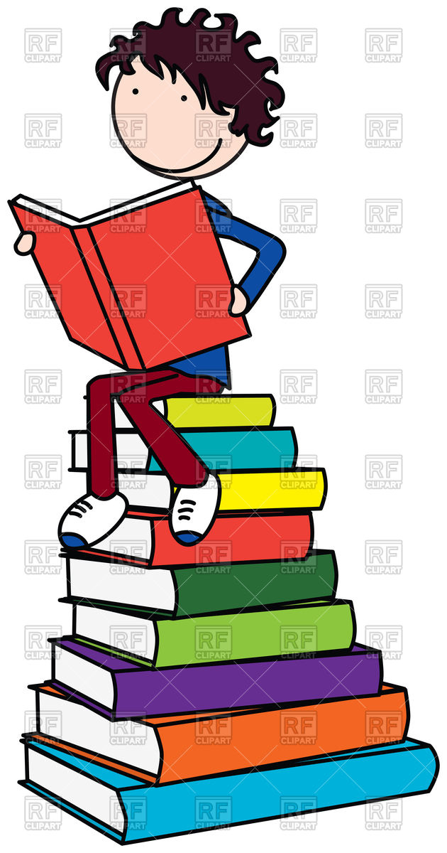 Cartoon boy reading a book Stock Vector Image.