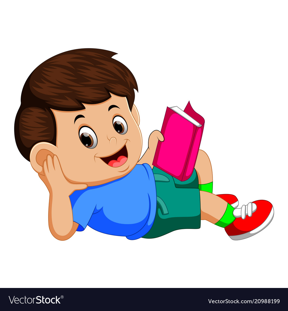 Boy reading book with enjoy.