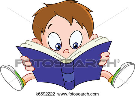 Boy reading book Clipart.