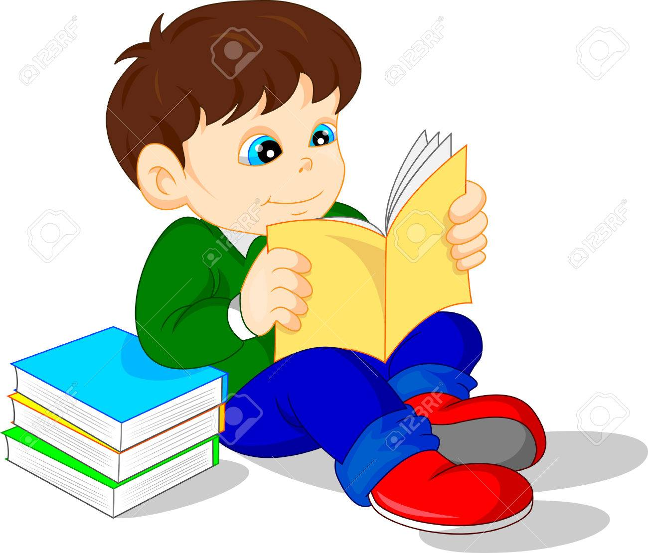 cute boy reading books.