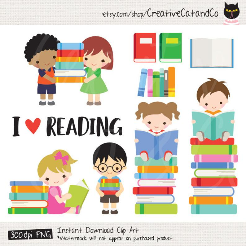 Kids Reading Books Clipart, Boy and Girl Reading Books, School Library,  Children with Books, Book Stack, School Kids, Clipart Clip Art Set.