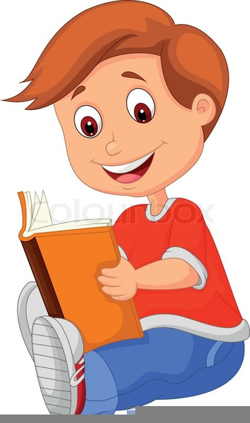 Boy Reading Books Clipart.