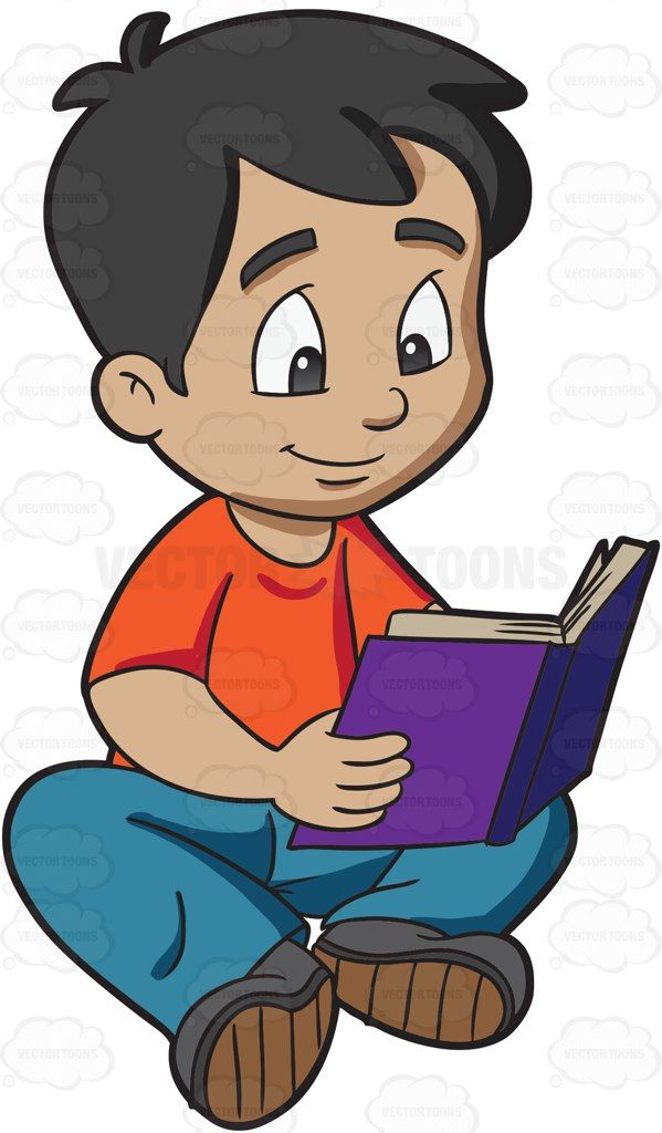 A boy reading a novel #cartoon #clipart #vector #vectortoons.