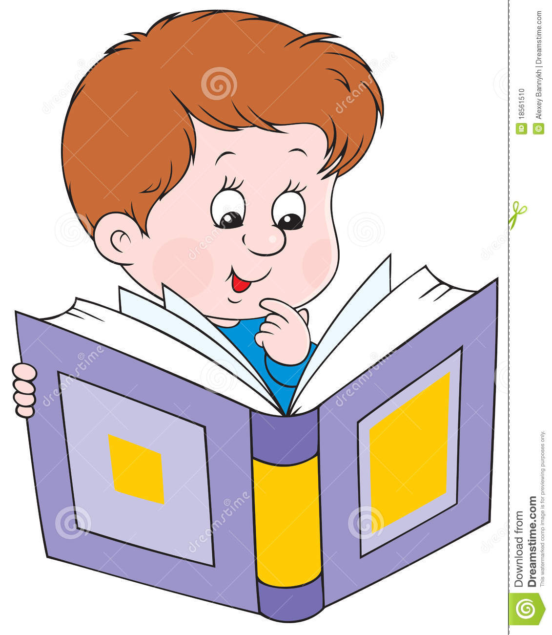 Reading boy stock vector. Illustration of illustration.