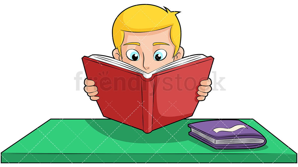 A Young Blonde Boy With His Nose Buried In A Book, Studying Hard.