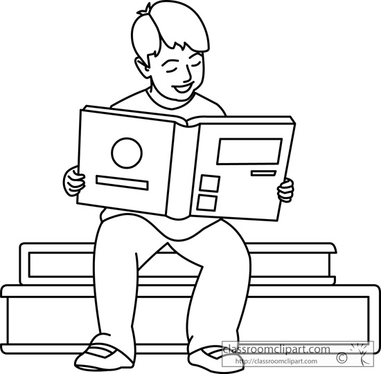 Kid Reading Book Clipart Black And White.