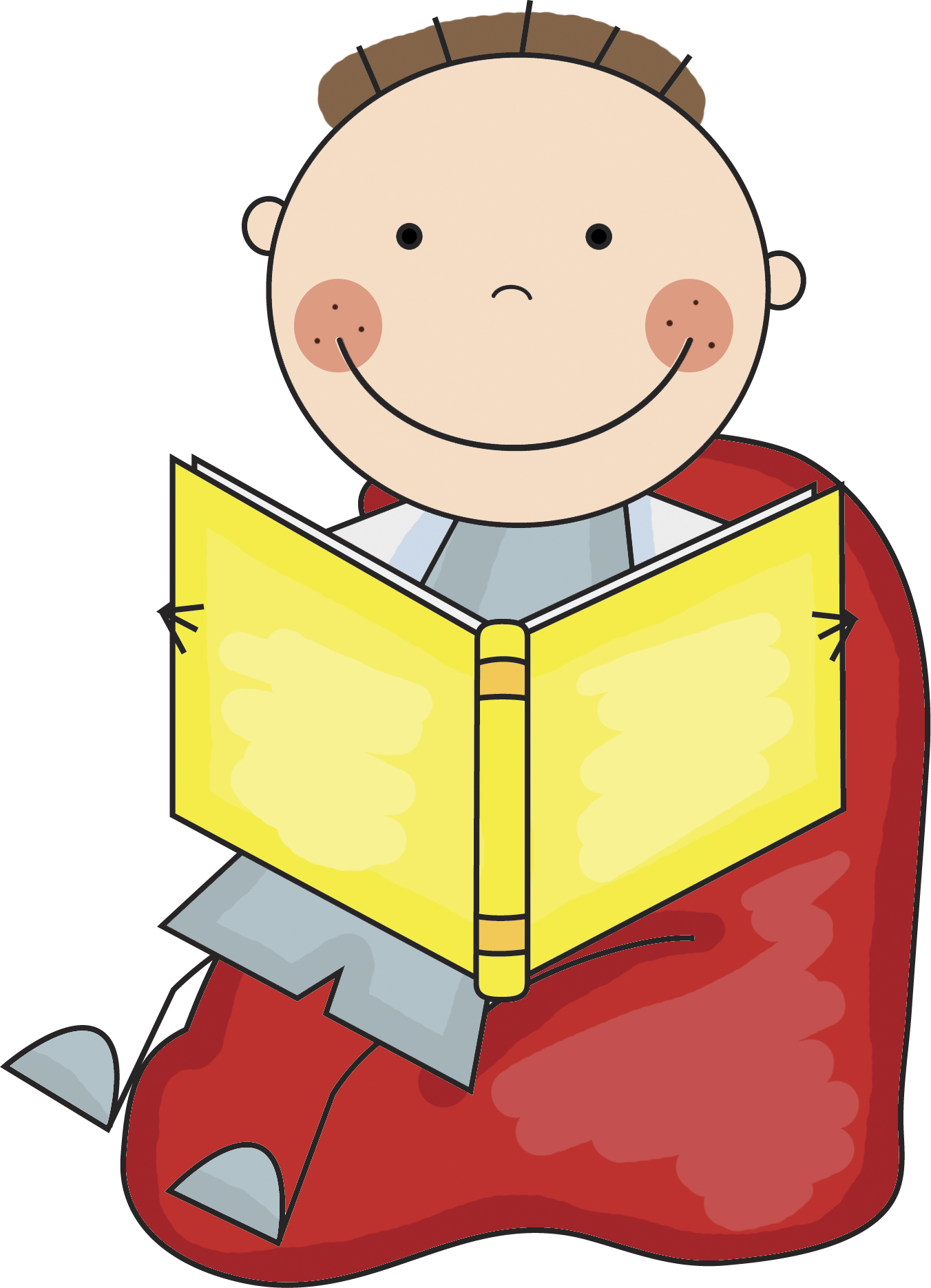 Library Boy Reading Clipart.