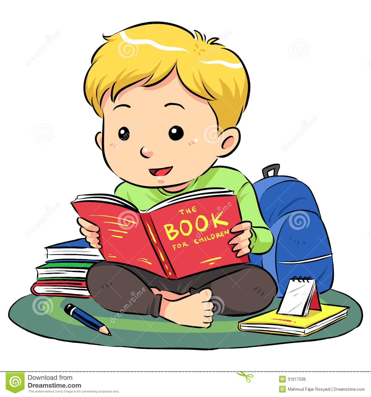 Boy reading books clip art.