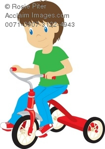 Clip Art Illustration Of A Little Boy Riding A Tricycle.