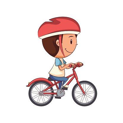 Child riding bike Clipart Image.