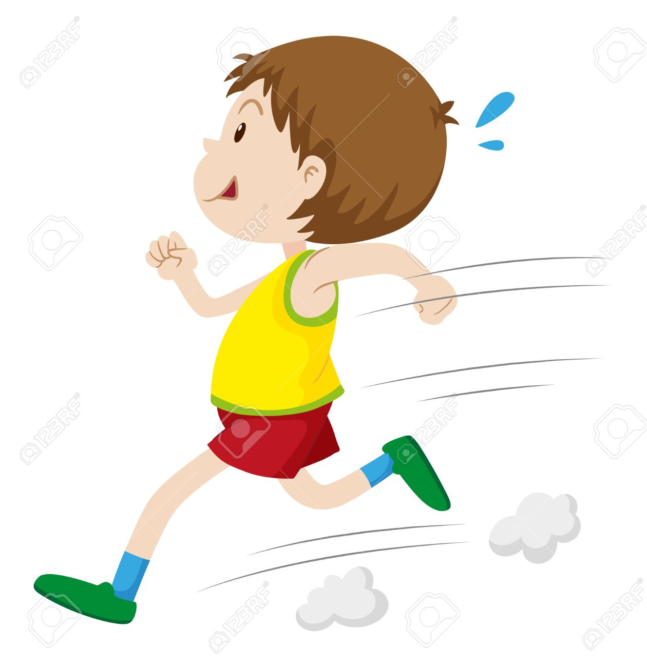Little boy running fast illustration.