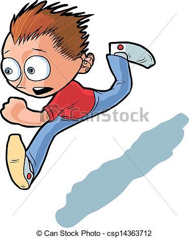 Running Boy Vector Cartoon.