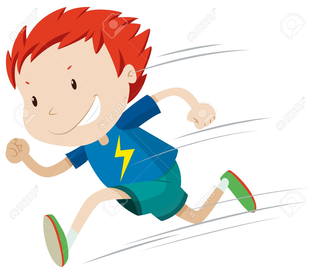 Boy running very fast illustration.