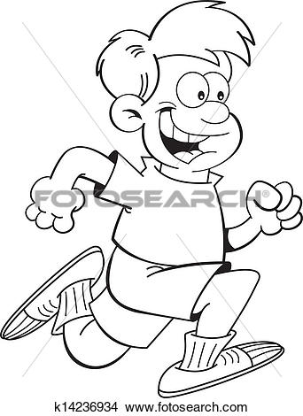 Clipart of Cartoon boy running k14236934.