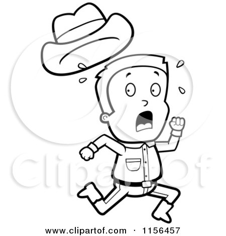 Cartoon Clipart Of A Black And White Sweaty Caucasian Cowboy Boy.