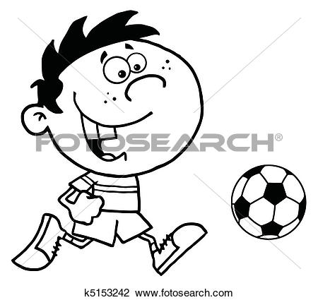 Clipart of Boy Running After A Ball k5153242.