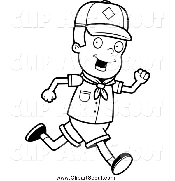 Clipart of a Black and White Happy Cub Scout Boy Running by Cory.