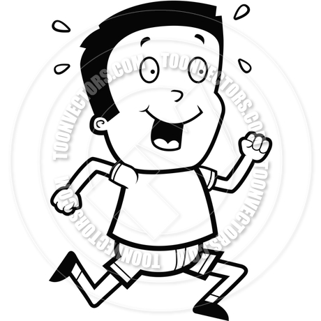 Cartoon Boy Running (Black and White Line Art) by Cory Thoman.