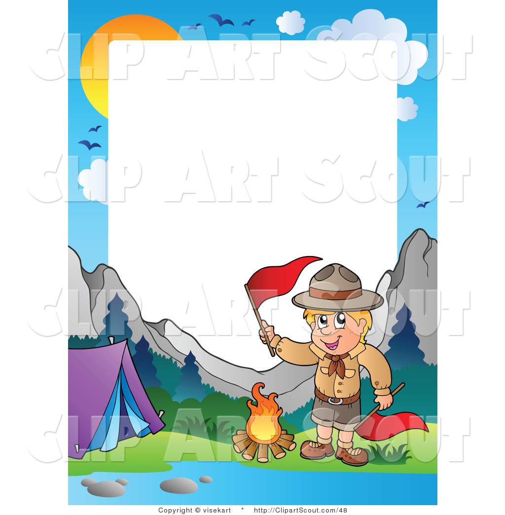 Clipart of a Boy Scout Camping in the Wilderness Border by visekart.