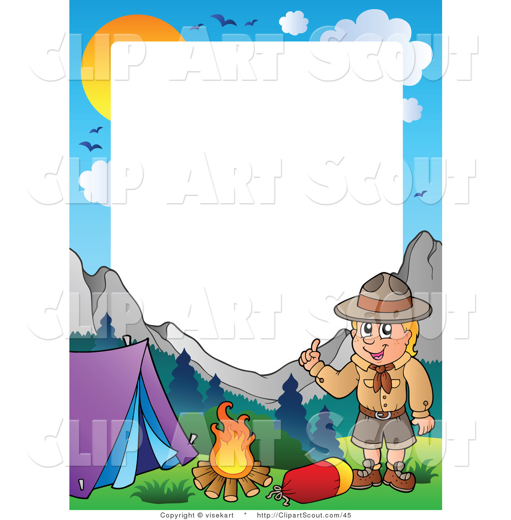 Clipart of a Boy Scout Camping Frame by visekart.