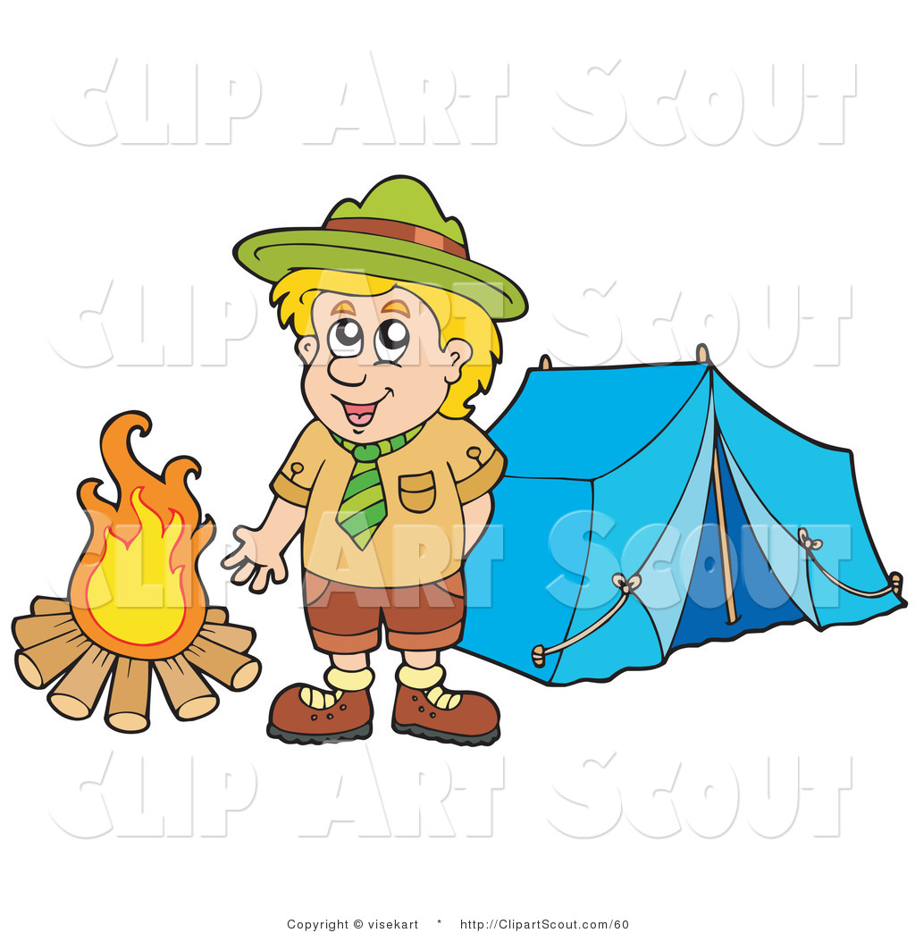Clipart of a Happy Scout Boy Standing by a Camp Fire by visekart.