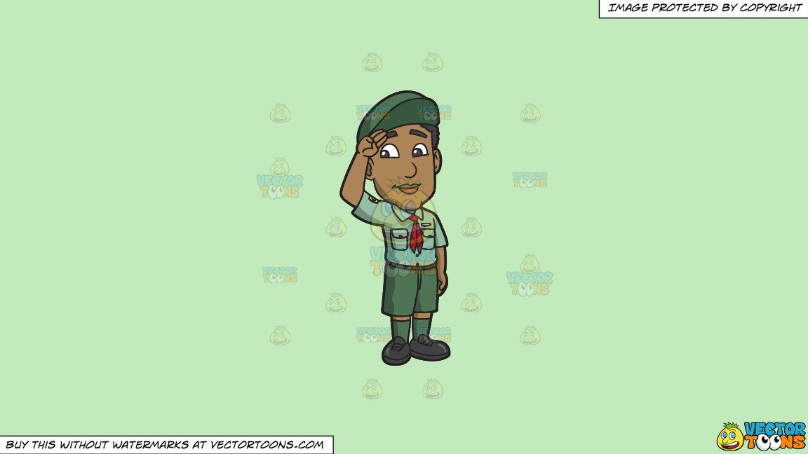 Clipart: A Boy Scout Saluting on a Solid Tea Green C2Eabd Background.