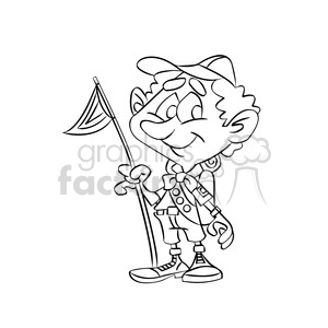 cartoon boy scout camping black white clipart. Royalty.