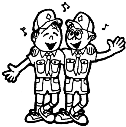 cub scout, camp, singing, activity, black and white, coloring sheet.