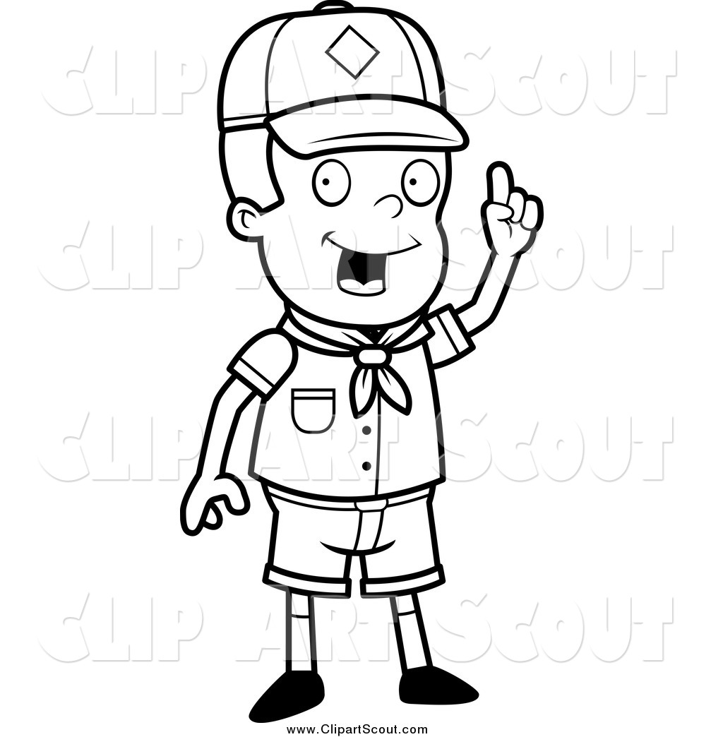 Clipart of a Black and White Smart Cub Scout Boy with an Idea by.