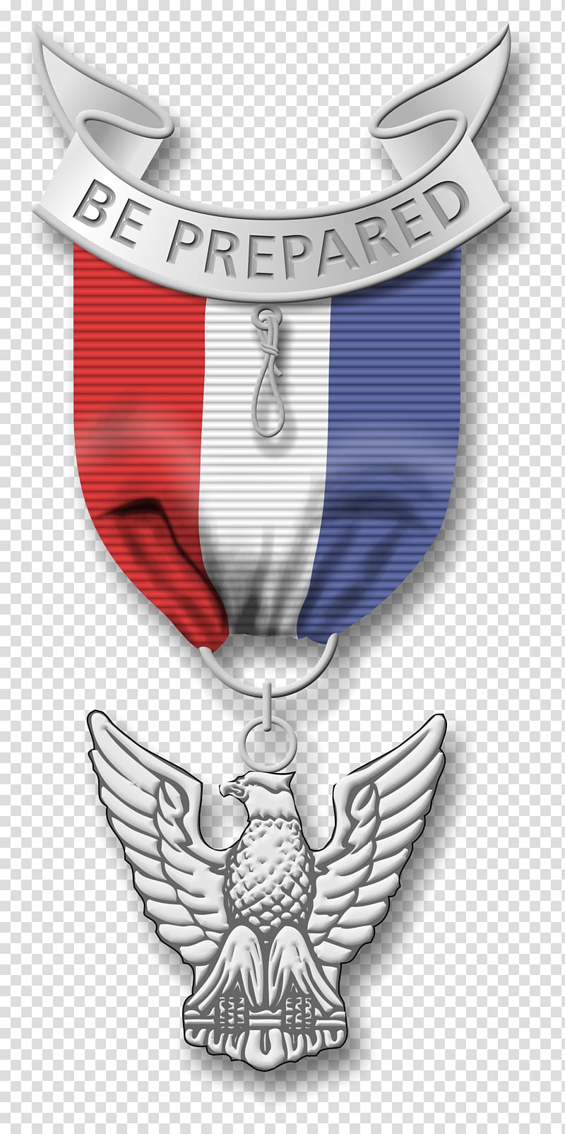 Blue, white, and red be prepared medal, Eagle Scout Boy.