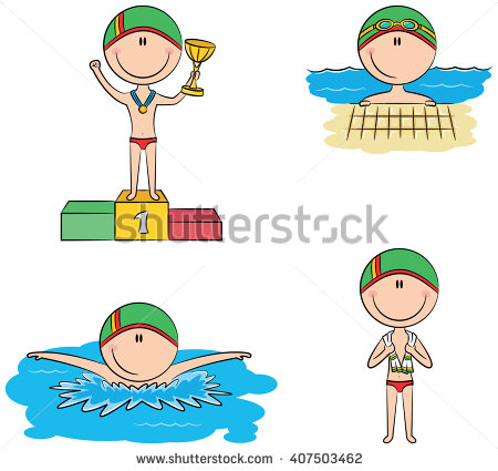 Swimmer Boy On Podium Clipart.