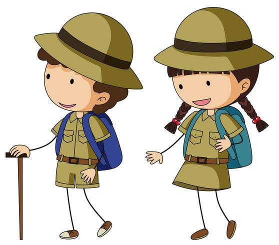 Boyscout and girlscout in brown uniform.