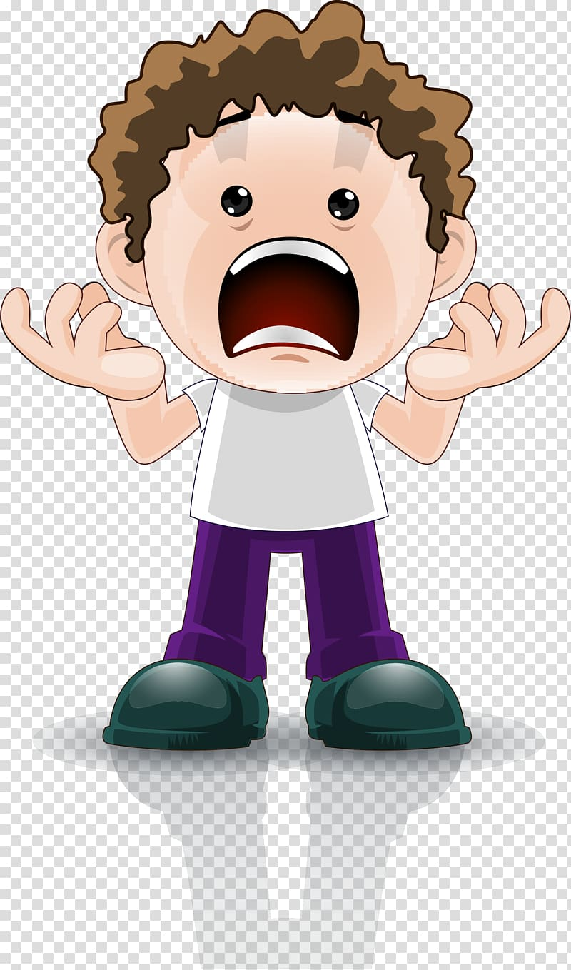 Brown haired guy screaming illustration, Cartoon Surprise.