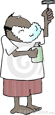 Shaving Cream Cartoon Man Stock Vector.