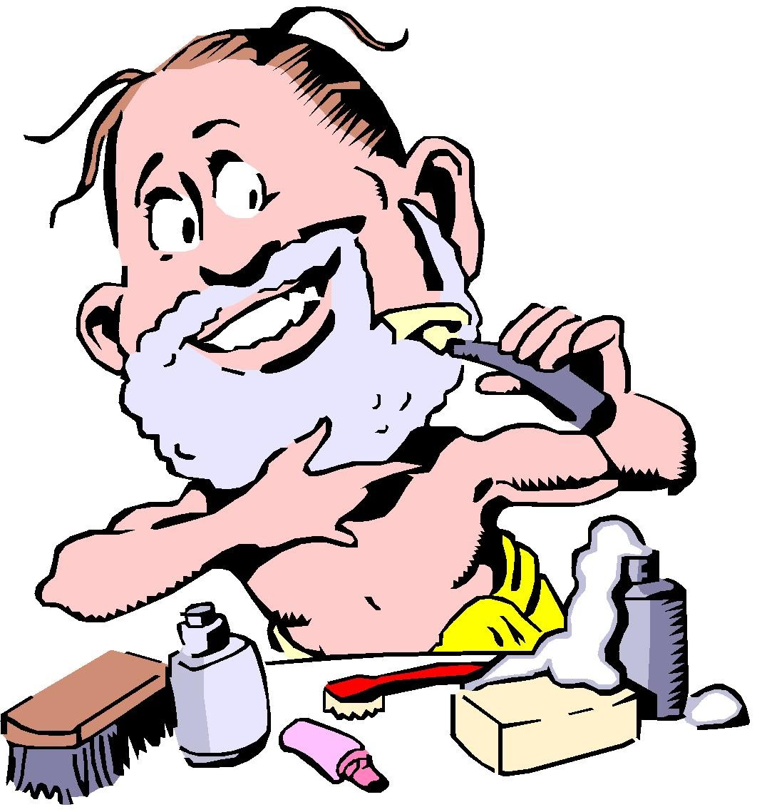 Showing post & media for Cartoon shaving his face.