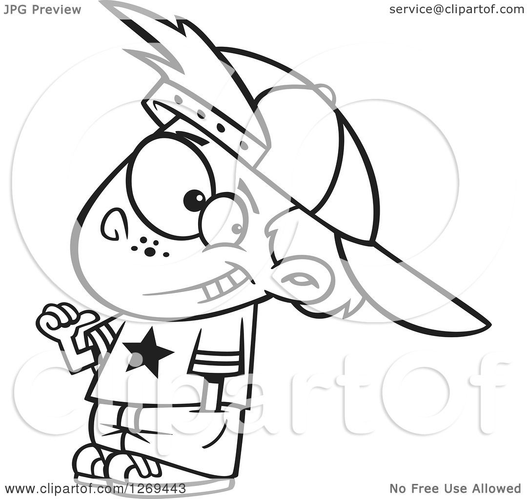 Clipart of a Black and White Cartoon Little Boy Wearing an All.