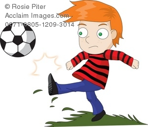 Boy Kicking A Soccer Ball Clipart At The Park.
