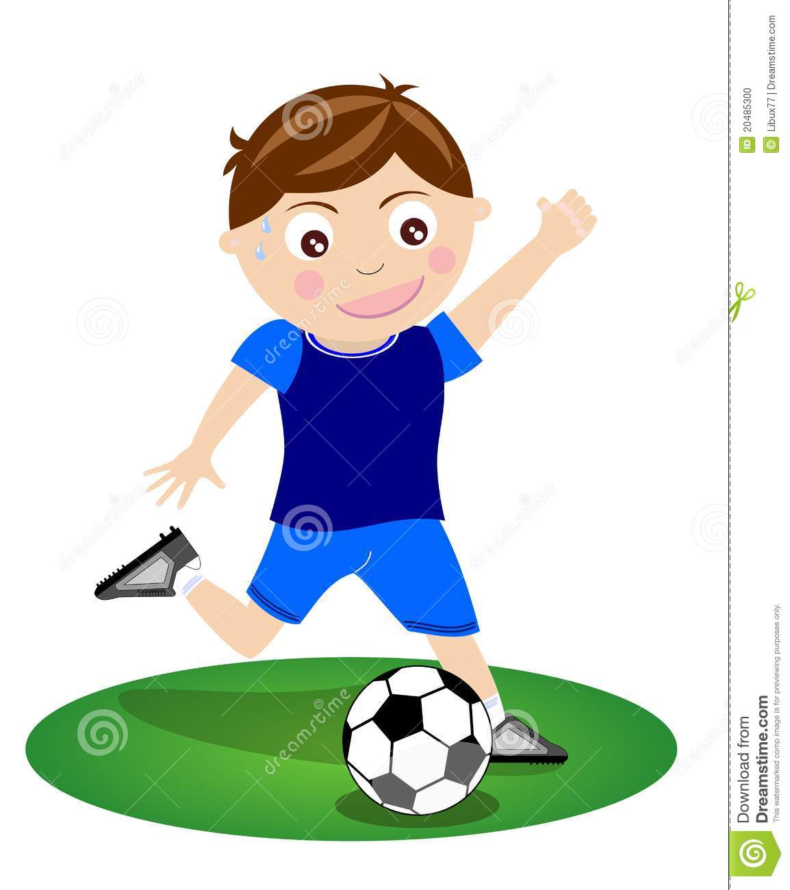 Boy Kicking Soccer Ball Football Isolated Stock Photo.