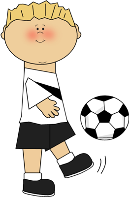 Boy kicking soccer ball clip art.