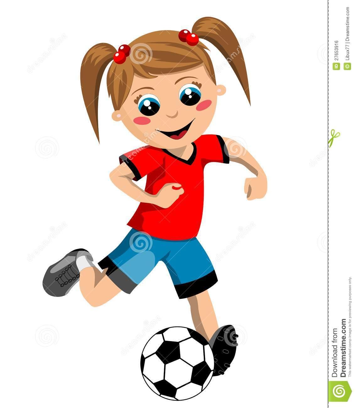 Cartoon girl soccer player kicking ball