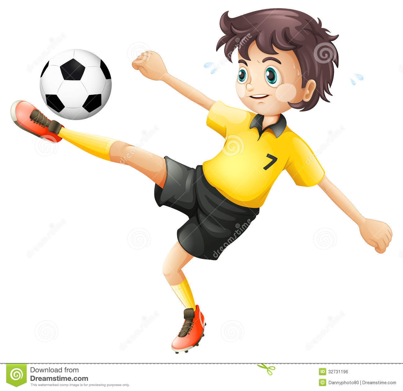 Boy Shooting A Soccer Ball Clipart.