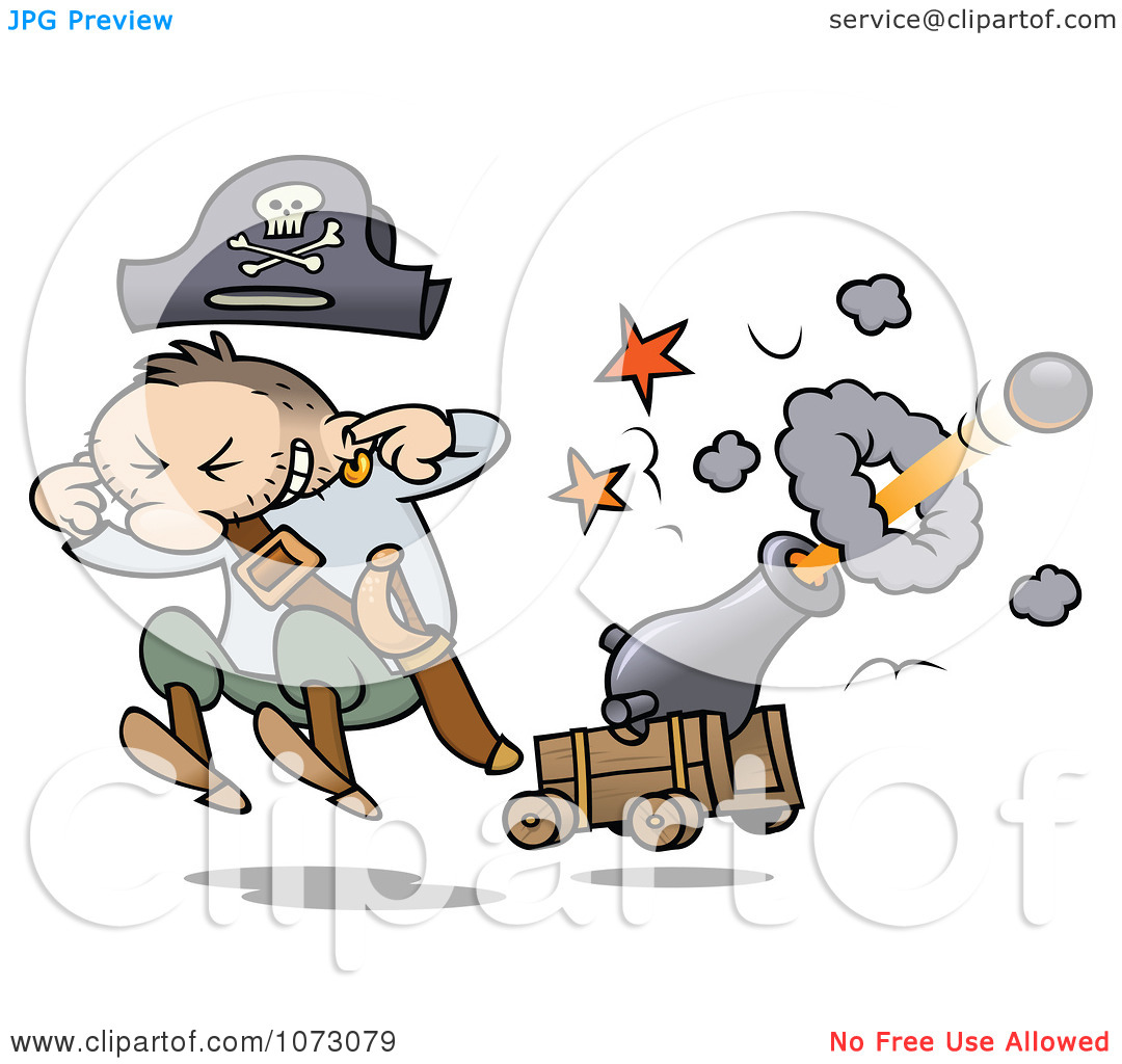 Clipart Pirate Jumping And Plugging His Ears While A Cannon Shoots.
