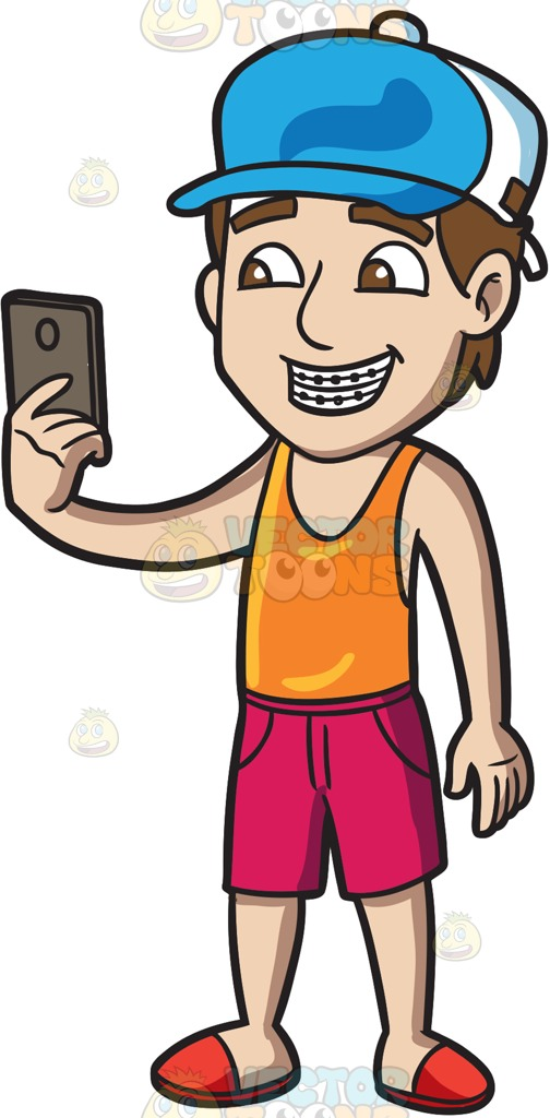 A Guy With Braces Shoots A Selfie Cartoon Clipart.