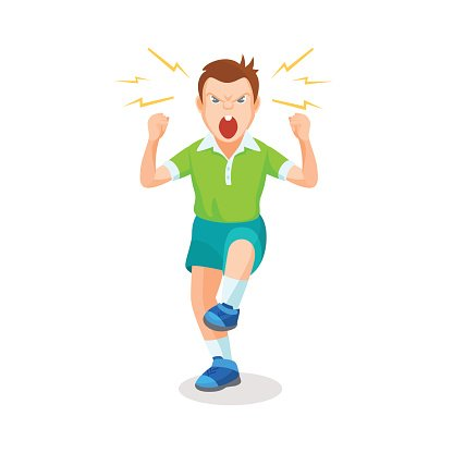 Boy full of anger is shouting something with aggression.