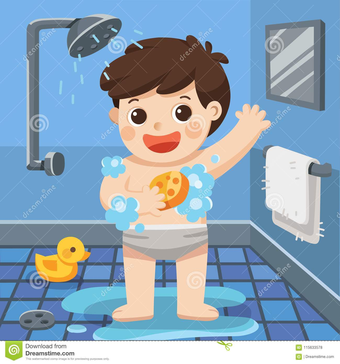 A Boy Taking A Shower In Bathroom. Stock Vector.