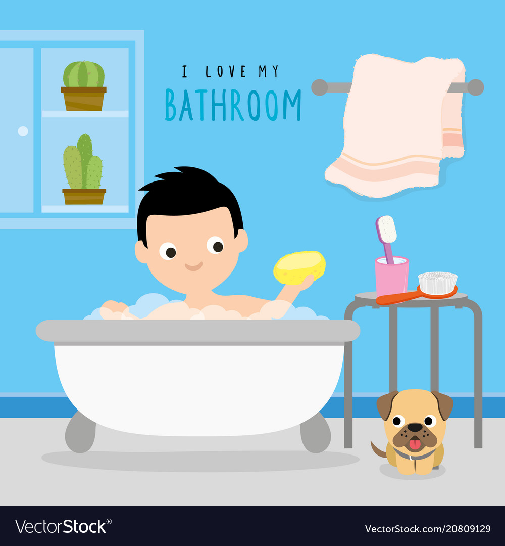 Bathroom home boy shower cartoon vector image.