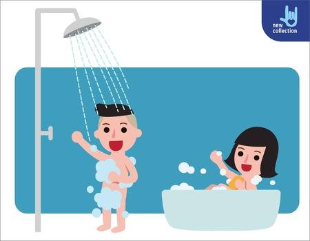 64 Boy Showering Stock Vector Illustration And Royalty Free Boy.
