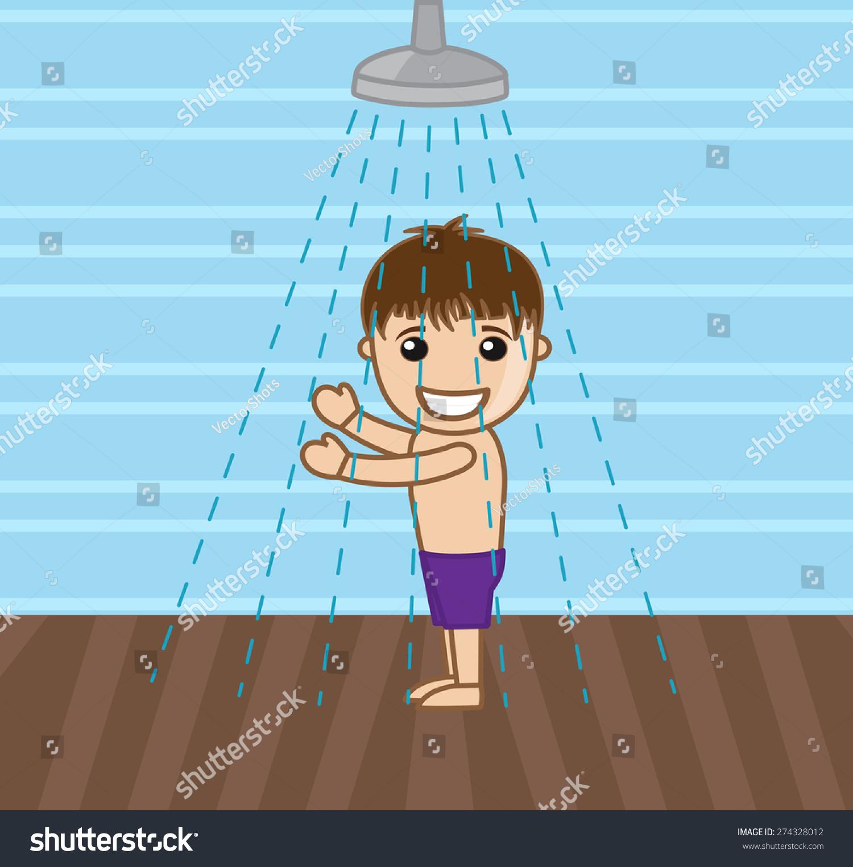 Cartoon Happy Boy Taking Shower Stock Vector (Royalty Free) 274328012.