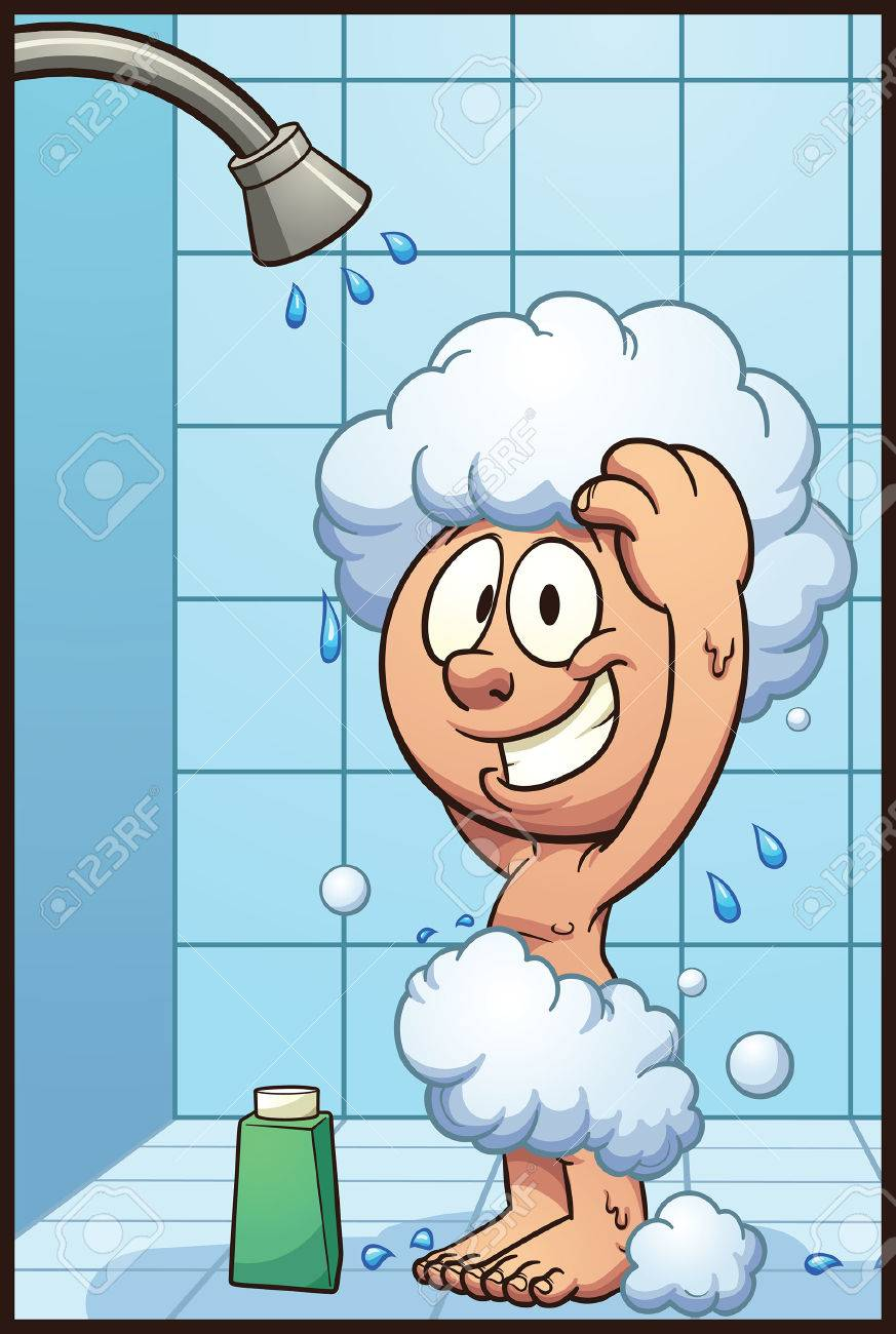 Cartoon boy showering. Vector clip art illustration with simple...